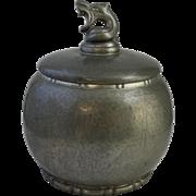 Vintage Danish Einar Dragsted Hammered Pewter Dragestil Covered Jar with Dragon Finial