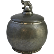 Vintage Danish Einar Dragsted Hammered Pewter Dragestil Covered Jar with Dragon Finial