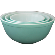 3 Piece Vintage Pyrex Turquoise Mixing Bowl Set