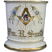 Vintage Limoges Occupational Freemason Shaving Mug with the Masonic Logo and Forget Me Not
