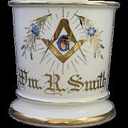 Vintage Limoges Occupational Freemason Shaving Mug with the Masonic Logo and Forget Me Not
