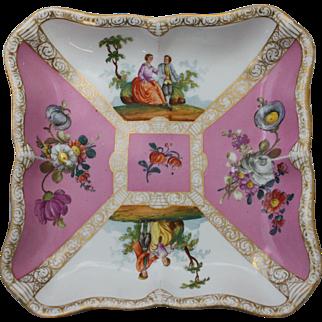 Meissen Floral Quatrefoil Square Bowl in Watteau Style