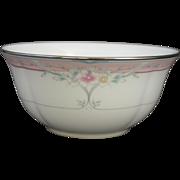 1990s Retired Lenox Emily Pattern Pink Floral Dessert or Fruit Bowl