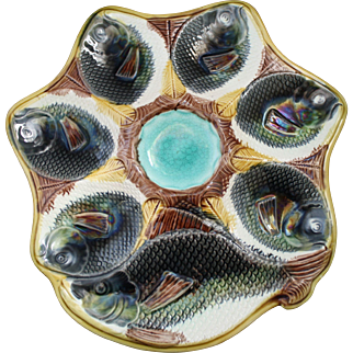 Antique Fish Motif Majolica Oyster Plate with Cracker Well