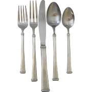 VTG c1975-82 Modernist Farmington Pewter Flatware Set by International Silver Company