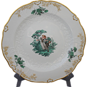 Meissen Green Watteau Courting Scene Dinner Plate