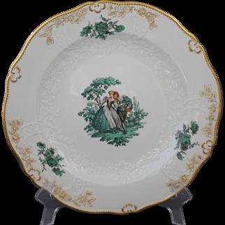 Meissen Green Watteau Courting Scene Dinner Plate