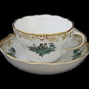 Meissen Watteau Green Coffee Mocha Cup and Saucer in Neumarseille Shape