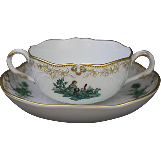 Meissen Green Watteau Courting Scene Soup Cup and Saucer