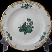 """Meissen Green Watteau Courting Scene 7"""" Plate"""