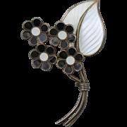 Vintage 1940s Bernard Meldahl Sterling Silver 925S White and Black Floral Pin/Brooch