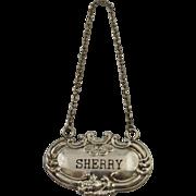 Vintage Sterling Silver Liquor Bottle Tag For Sherry Decanter