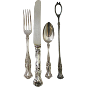 "1847 Rogers ""Vintage"" Grape Pattern Silverplate Flatware Set of 19 Pieces to Serve Six (6)"