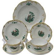 Meissen Green Watteau 7-Piece Place Setting Neumarseille Shape