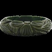 Vintage Heavily Carved Floral Bakelite Bangle Bracelet in Creamed Spinach Color