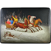Vintage Signed 1971 Fedoskino Russian Lacquer Box with Wintry Troika Scene