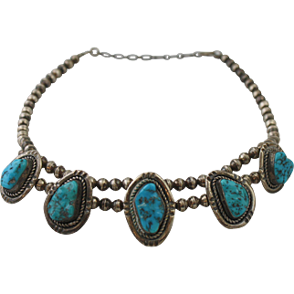 Sterling Silver F. Sandoval Turquoise Navajo Necklace