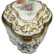 Antique Floral Basket Work Porcelain Snuff Box or Bonbonnierre with Ormolu Mounts