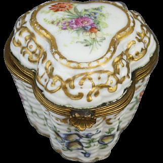 Antique Floral Basket Work Porcelain Snuff Box or Bonbonnierre with Ormolu Mounts