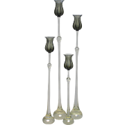Set of 4 Rosenthal Bjorn Wiinblad Glass Smokey Tulip Graduated Candlesticks