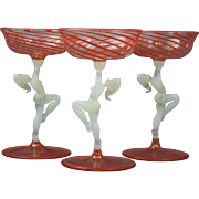 Set of Three (3) Art Deco Nude Bimini Red Swirl Cocktail Stems