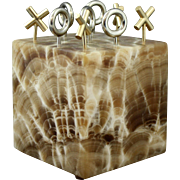 Signed 1971 Curtis Jere Agate Marble Cube Tic Tac Toe Game