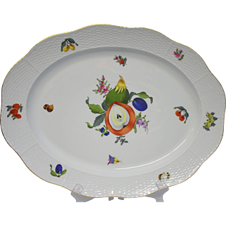 """Herend Fruits and Flowers 16 1/4"""" Oval Platter BFRN"""
