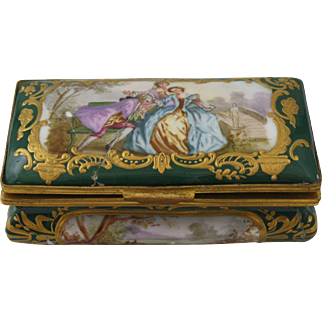 Repaired French Gilt Porcelain Handpainted Hinged Courting Casket or Box