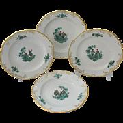Set of Four (4) Meissen Green Watteau Courting Scene Dinner Plates