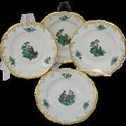 "Set of Four (4) Meissen Green Watteau Courting Scene 6"" Plates"