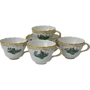 Set of Four (4) Meissen Neumarseille Green Watteau Courting Scene Cups and Saucers