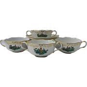 Set of Four (4) Meissen Neumarseille Green Watteau Courting Scene Bouillon Soup Bowls and Saucers