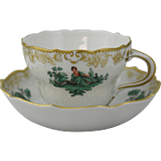 Meissen Green Watteau Courting Scene Tea or Coffee Cup and Saucer