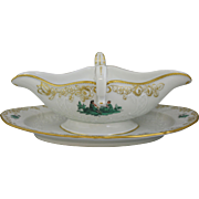 Meissen Green Watteau Courting Scene Gravy Boat With Attached Underplate