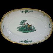 """Meissen Green Watteau Courting Scene 11"""" Oval Serving Bowl"""