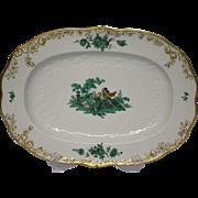 """Meissen Green Watteau Courting Scene 14 1/2"""" Oval Serving Platter"""