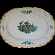 """Meissen Green Watteau Courting Scene 16"""" Oval Serving Platter"""