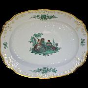 """Large Meissen Green Watteau Courting Scene 17 1/4"""" Oval Serving Platter"""
