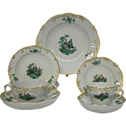 Meissen Green Watteau Courting Scene Place Setting With 7 Pieces