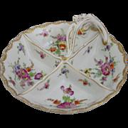Antique Handpainted Floral Porcelain 4 Section Divided Handled Dish