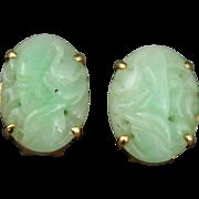 14K Gold Carved Jade Clip Earrings