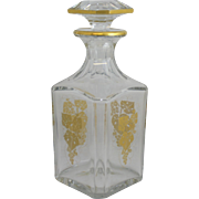 Vintage Baccarat Square Decanter With Gold Grape Leaf Pattern