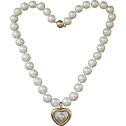 14K Gold Cultured Pearl Strand Necklace With Heart Shaped Blister Enhancer Pendant