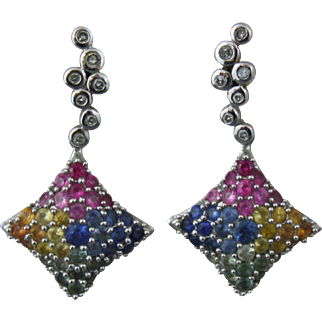 14K White Gold Multicolor Sapphire and Diamond Earring Set