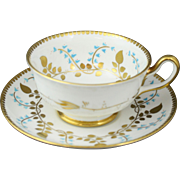 Royal Chelsea Bone China Turquoise and Gold Vine Cup and Saucer Set