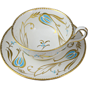 Royal Chelsea Bone China 331A Turquoise and Gold Floral Tea Cup and Saucer Set