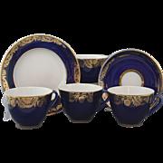 Set of 4 Cobalt Blue and Gold Lomonosov Porcelain Trio With Cup Saucer and Dessert Plate