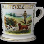 Antique Limoges Occupational Shaving Mug Vibrant Koken St. Louis with Hunting Scene