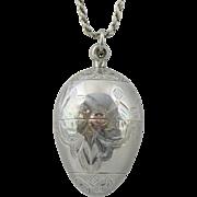 Antique c1800s Unmarked 900 Silver Egg Shaped Etched Vinaigrette Pendant Scent Holder