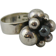 Mid Century Modern Signed Sterling Silver Ball Cluster Size 7.5 Ring